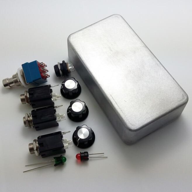 Carcasa de Pedal de aluminio estilo 1590B y interruptor de Pedal de pie 3PDT + luces LED + interfaz + perillas de guitarra Bypass verdadero