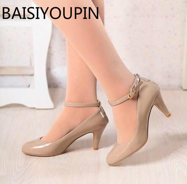 Damasco Sapatos Da Moda Menina Doce Uma Palavra Fivela sapatos de Salto Alto Sapatos Única Fêmea Sapatos de Casamento As Mulheres Se Vestem Tamanho Grande Pequeno 31-43