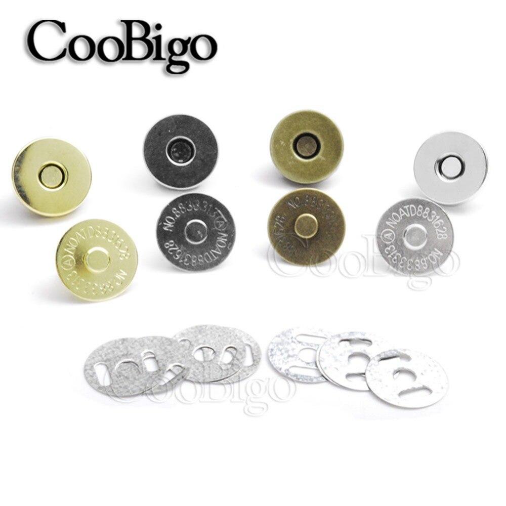 Juego de 10 cierres a presión magnéticos botones de corchetes bolso de mano de Metal monedero costura cuero partes accesorios Dia. 10mm 14mm 18mm