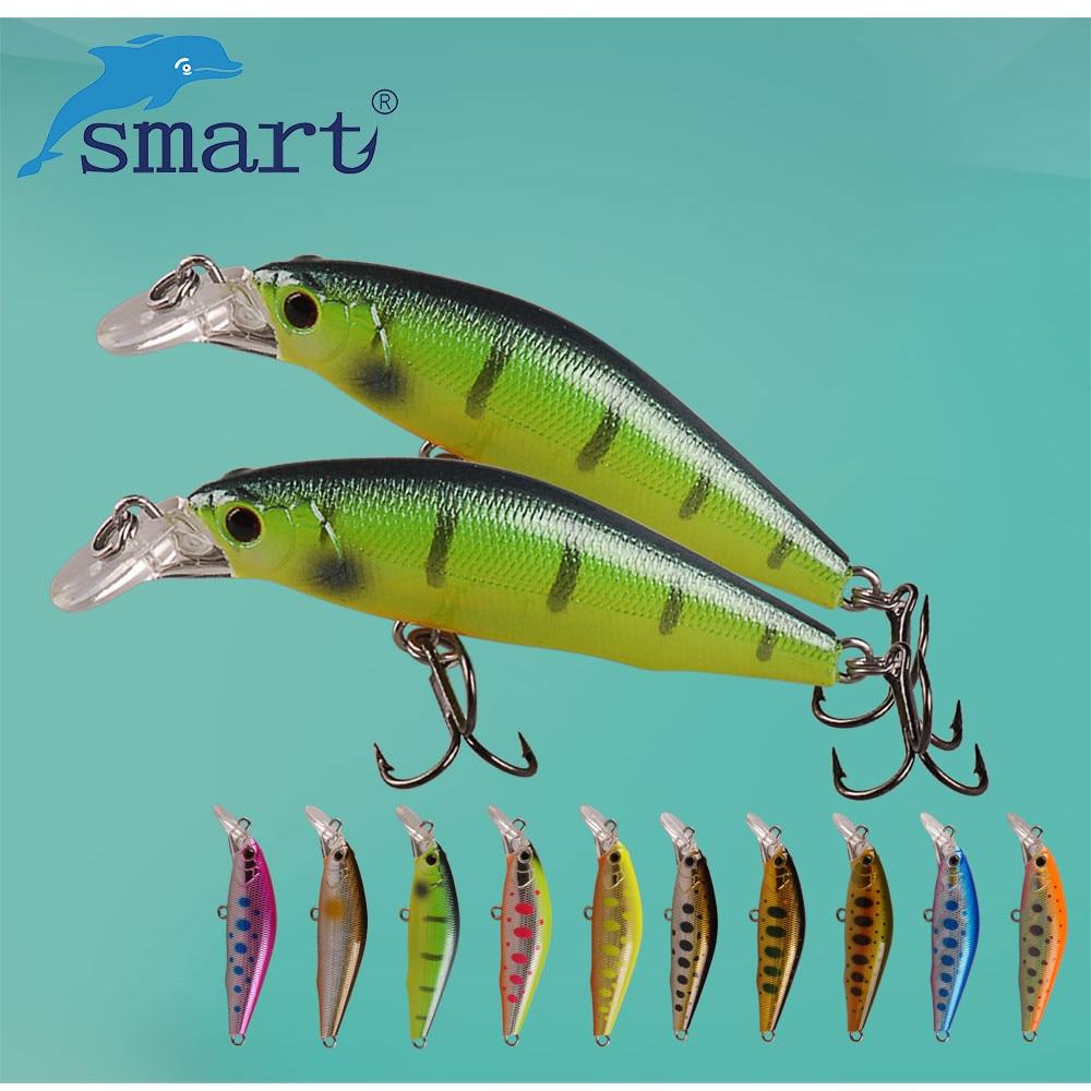 Cebo inteligente de Minnow 50mm5. 16g se hunde de señuelo de Pesca VMC gancho Isca Artificial Para Pesca Leurre Souple Peche Mer de Pesca