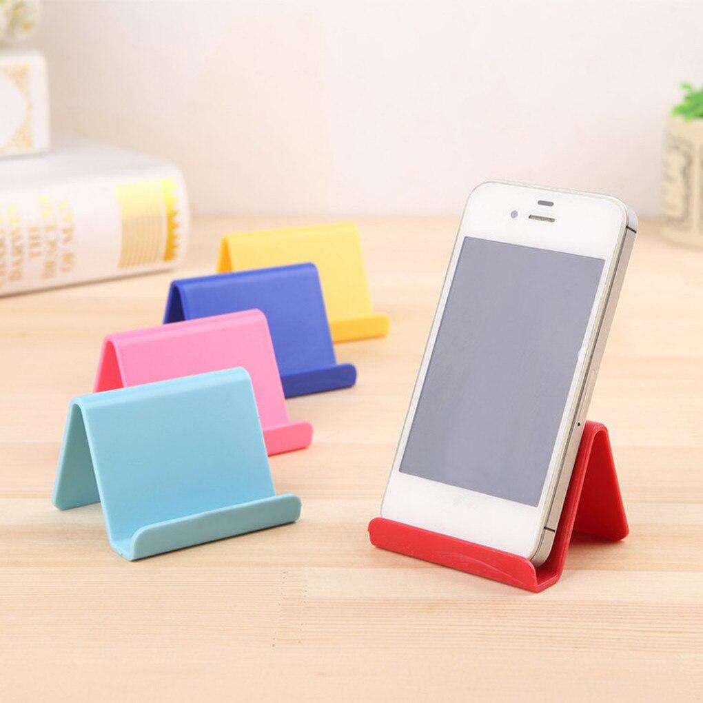 Soporte para teléfono Universal de plástico para iPhone 7 8 X para Samsung para Xiaomi Smartphone Color caramelo soporte para teléfono móvil