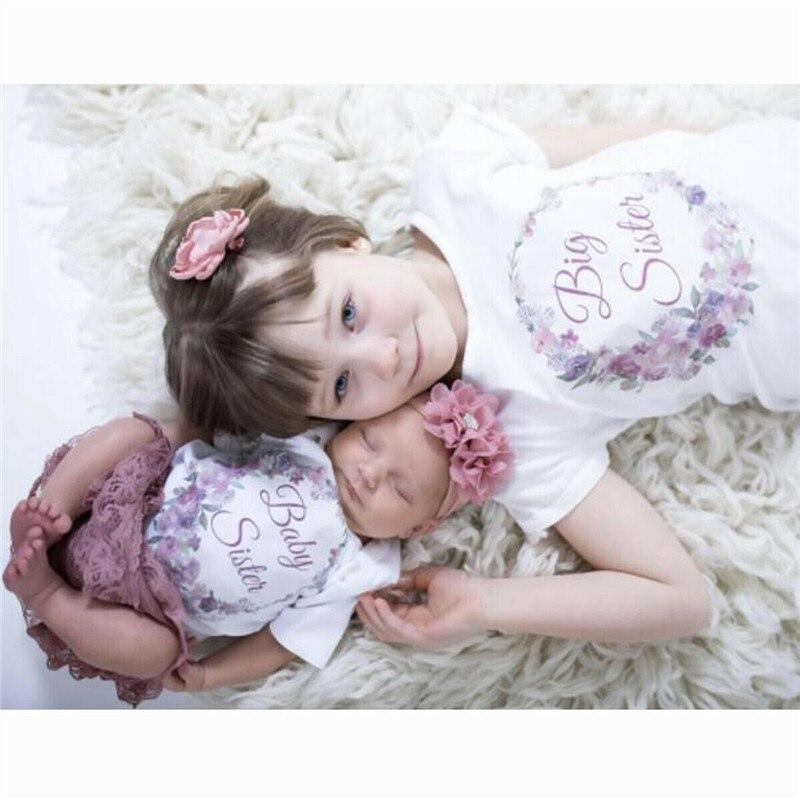 Одинаковые комплекты для семьи, хлопковая одежда с короткими рукавами для маленьких девочек и подростков, боди, футболка, хлопковые комплекты