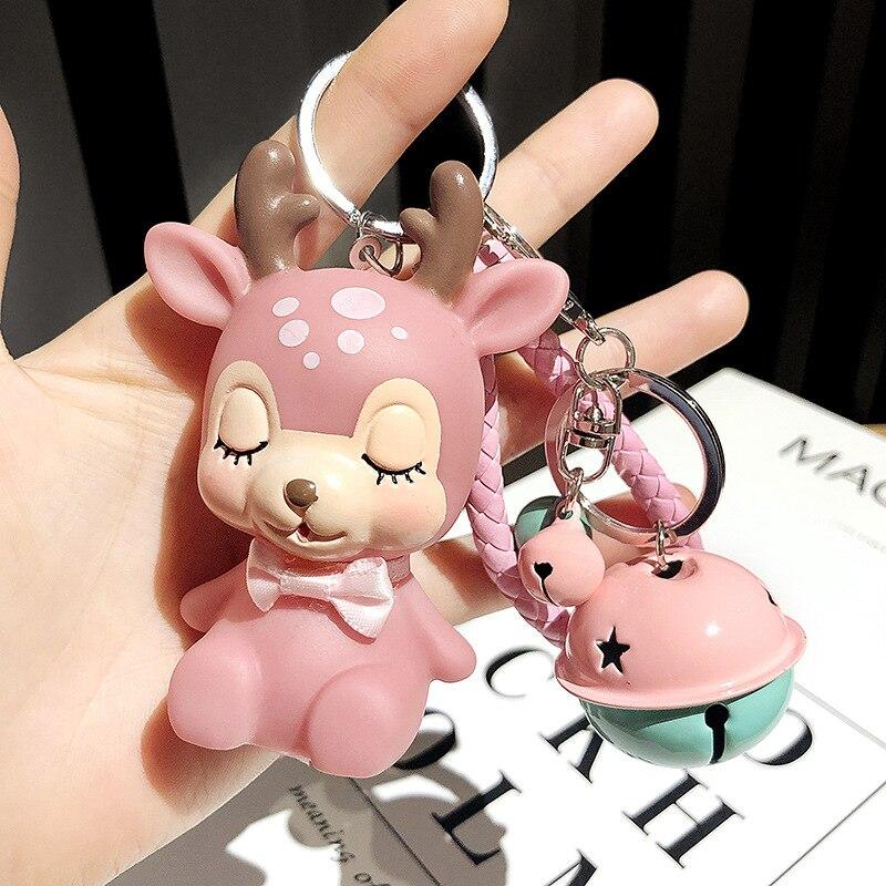 Cartoon Elk Animal Keychain for Girl Cute Pink Toy Bell Doll Bag Pendant Key Chain PVC Car Keyring Festival Gift Sleutelhanger