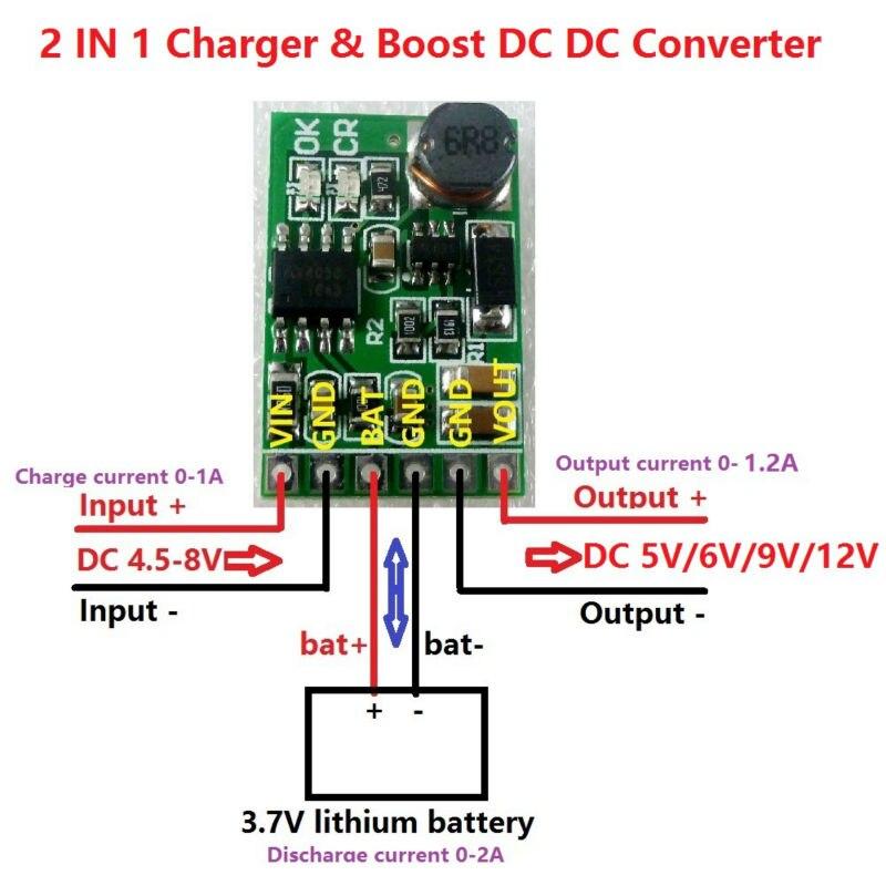 Зарядное устройство 3,7 в, 4,2 в, 5 в, 6 в, 9 в, 12 в, плата для разрядки, преобразователь постоянного тока, повышающий модуль для самостоятельной сборки, зарядная батарея 18650, литиевая батарея