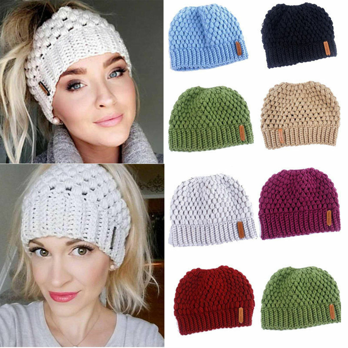 Winter Knitting Hats Winter Women Hat Ladies Girl Stretch Knit Hat With Tag Messy Bun Ponytail Beani