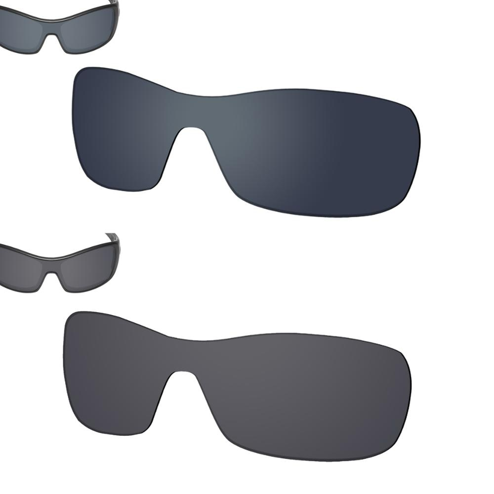 SmartVLT 2 Pieces Polarized Sunglasses Replacement Lenses for Oakley Antix -Black Shield and Solid B