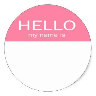 Etiqueta engomada redonda clásica rosa bebé Hello mi nombre es única de 3,8 cm