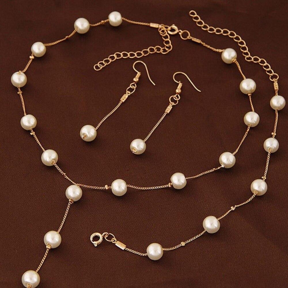 Nuevo collar de cadena Simple para mujer, joyería elegante y elegante, favorece la perla de imitación, collar, pendiente, conjunto de joyas de pulseras, Acces
