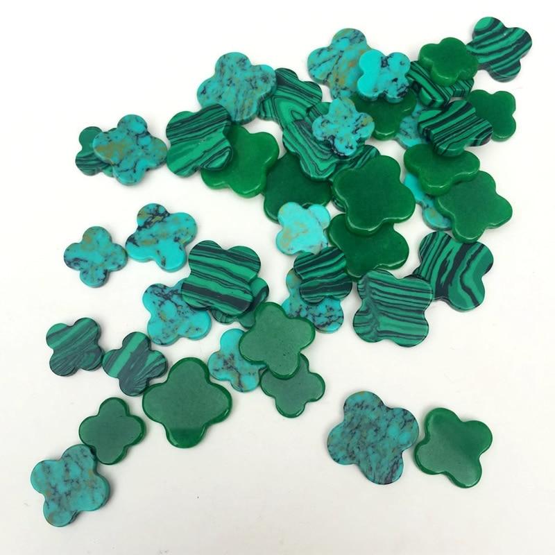 Malachite naturelle pierre de pin synthétique trèfle perles taille 10/12/14mm peut être sélectionné pour bijoux à bricoler soi-même accessoires incrustation 5 pièces/lot