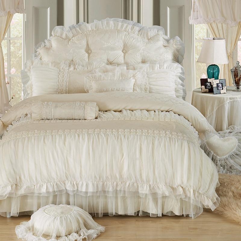 طقم سرير برنسيس من القطن ، على الطراز الكوري ، بيج ، جاكار ، ساتان ، غطاء لحاف فاخر ، غطاء سرير ، ملاءة ، أكياس وسائد