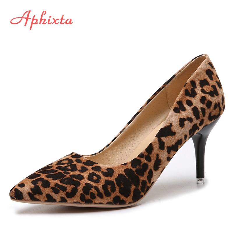Aphixta 2019 Leopard Shoes Woman Heels Pumps High Nude 8cm Thin Heels Wedding Shoes Party Ladies Shoes Classic Pumps Big Size 44