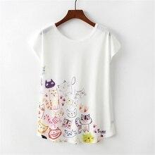 KaiTingu Sommer Neuheit Frauen T Shirt Harajuku Kawaii Nette Stil Cartoon Katze Drucken T-shirt Kurzarm Oansatz Tops Größe M L XL