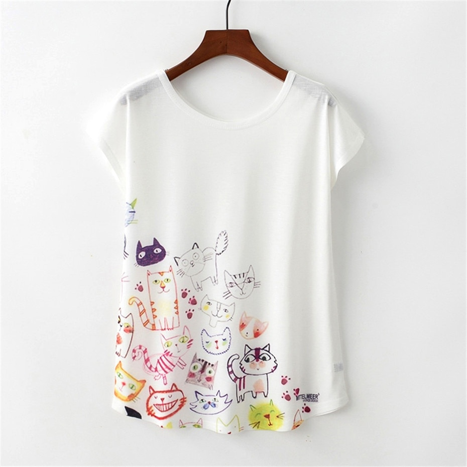 KaiTingu Summer Novelty Women T Shirt Harajuku Kawaii Cute Style Cartoon Cat Print T-shirt Short Sleeve O-neck Tops Size M L XL