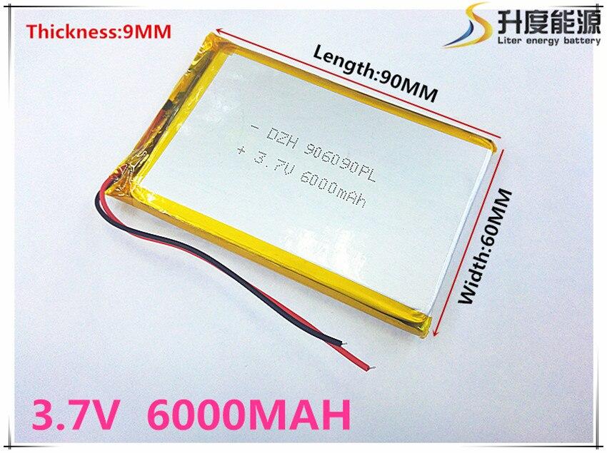 Li-po batería de polímero 6000 mah 3,7 V 906090 de casa inteligente MP3 altavoces li-Ion batería para dvr GPS... mp3... mp4 teléfono celular hablar