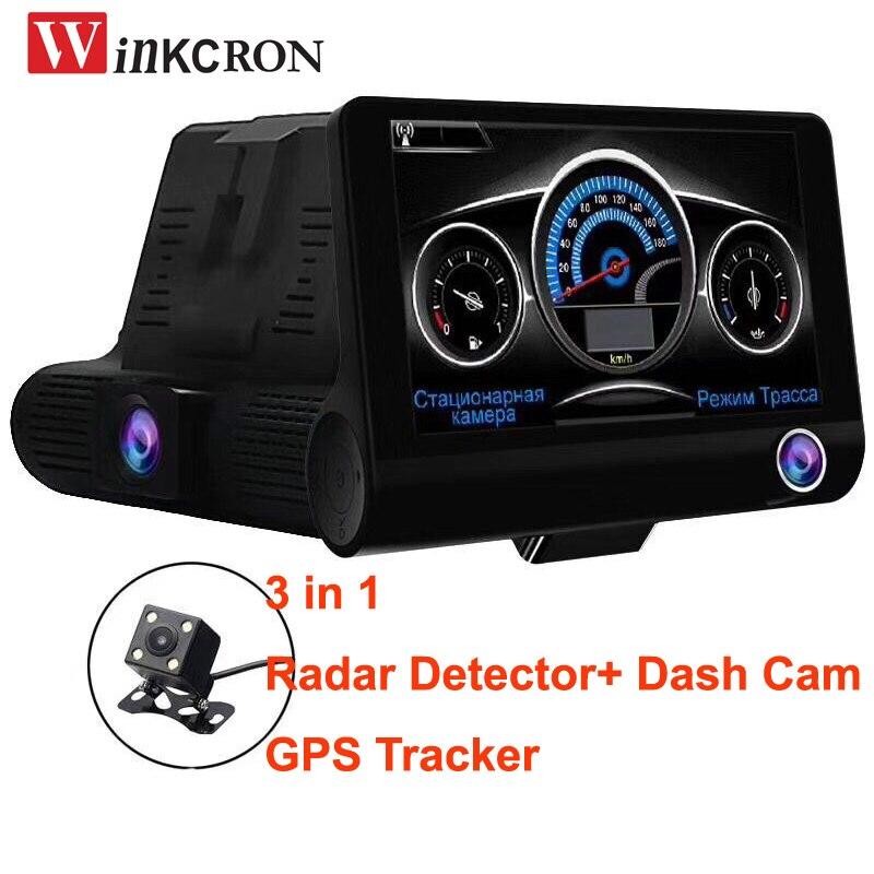 "3 en 1, Detector de Radar de cámara DVR para coche (versión rusa), registrador GPS, lente Dual de 4,0 "", cámara Full HD 1080P, tacógrafo, advertencia de tráfico"