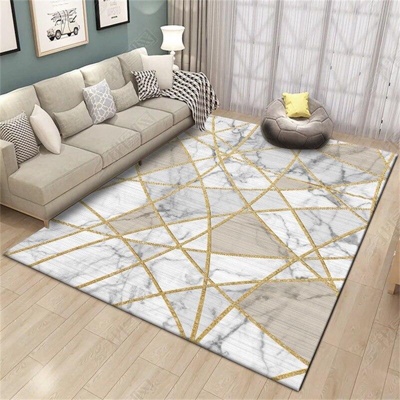 Fashion Living Room Large Size Carpet Modern Golden Geometric Bedroom Door Decorative Area Rugs Parlor Tapete Non-Slip Floor Mat