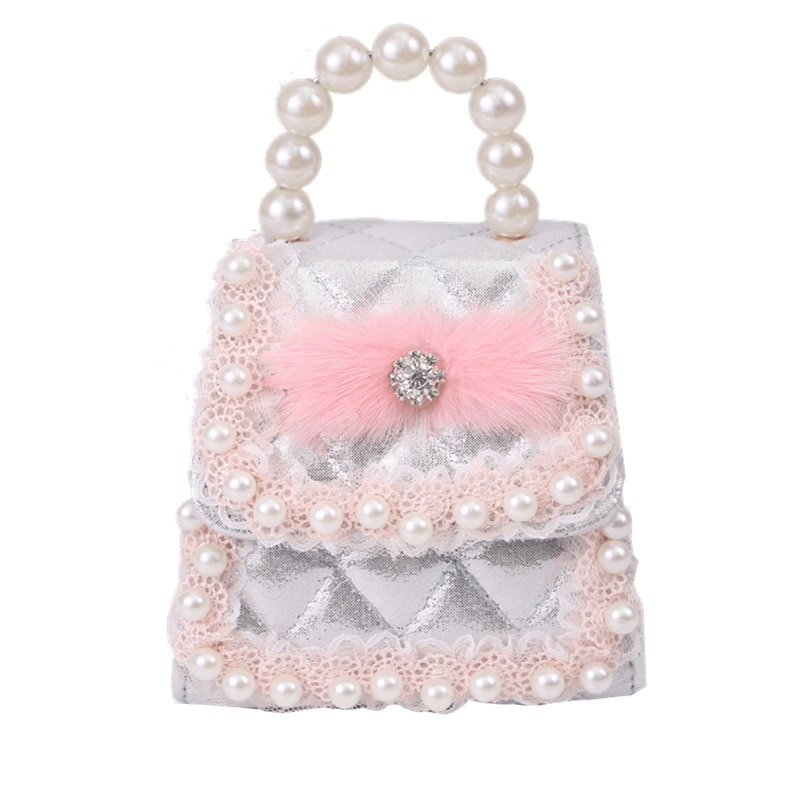 Children Mini Handbags Tote Cute Kids Girls Pearl Crossbody Bags Baby Party Hand Bags Wallet Shoulder Bag