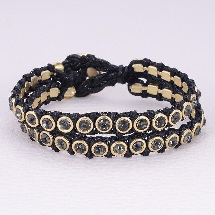 Duplo vertentes handmade trançado pulseira com crystal cup garra cadeias Nó pulseira estilo botão wiht