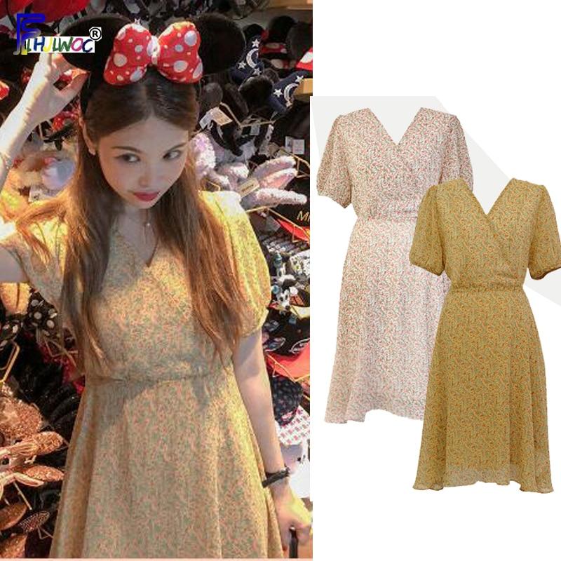 Summer Mini Dresses Temperament Lady Women Japan Korean Style Design Short Sleeve Vintage Yellow Chiffon Dress 5031