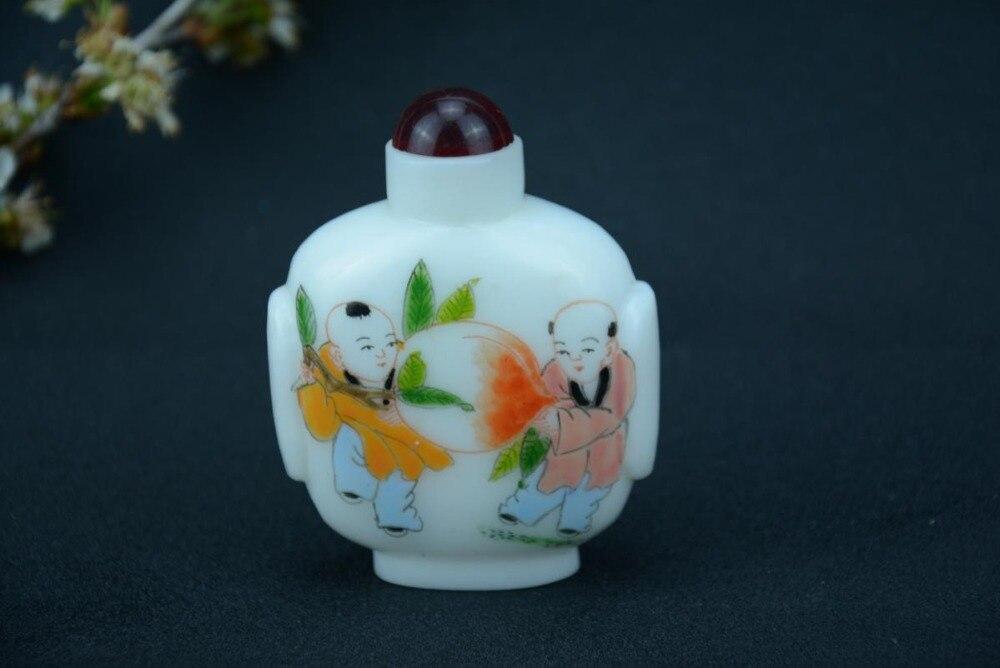 Raro de dinastía Qing chino antiguo vidrio pintura botella de rape RR, GU YUE XUAN, envío gratis