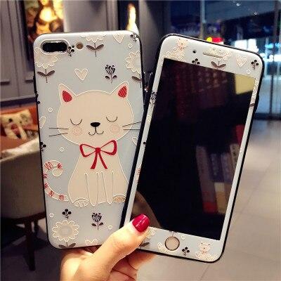 3D embossed soft cover For iPhone 8 /8plus/7 plus cute cartoon cat Case +Tempered Glass Screen film fundas for iPhone 6S 6SPlus