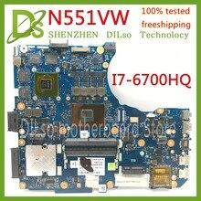 KEFU N551VW carte mère pour ASUS N551V G551V FX551V G551VW FX51VW N551VW ordinateur portable carte mère I7-6700HQ CPU GTX960M essais 100%
