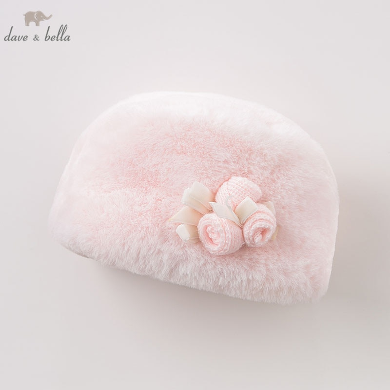 Dave bella DB8480 crianças boutique chapéu rosa bebê bonito chapéu de inverno