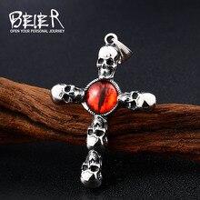 Beier nouveau magasin 316L en acier inoxydable pendentif collier rétro rouge diable oeil pendentif Style Punk croix crâne pendentifs LLBP8-341R