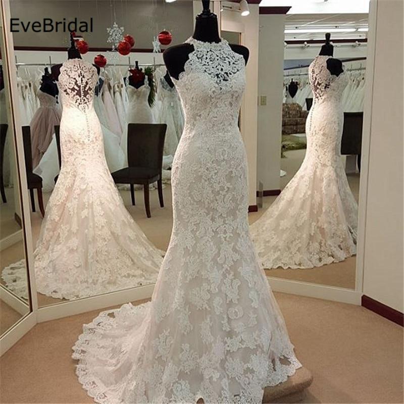 Aplique de sirena satén encaje vestido de novia de cuello alto sin mangas hasta el suelo vestido de novia