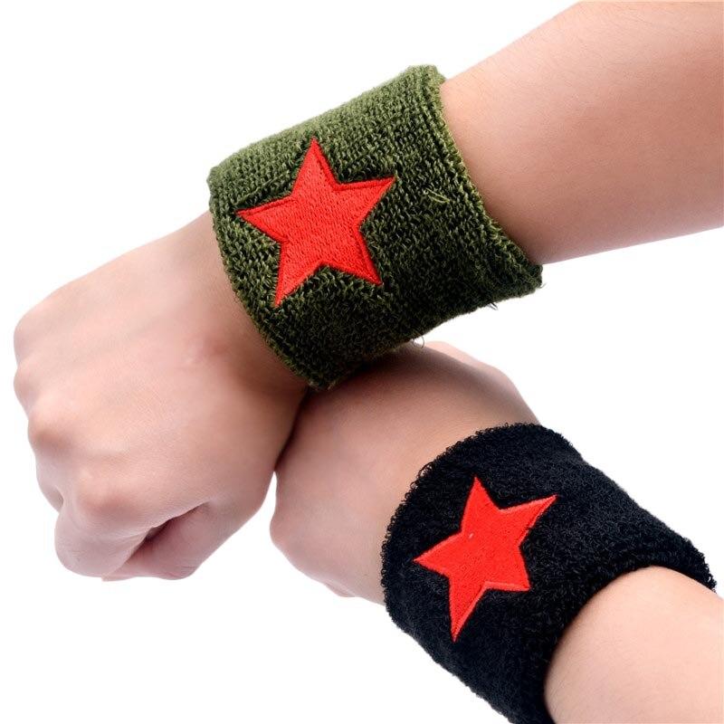 Unisex Red Star Wristband Cotton Wrist Brace Support Protector Sweatband Gym Fitness Strap Sports Wrist Wrap Safety Wear