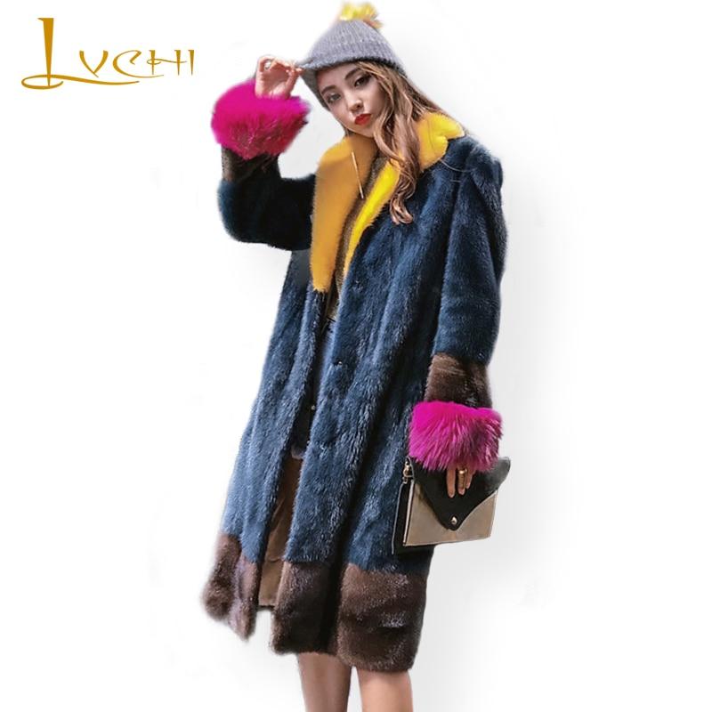 Stylish Winter 2019 female jacket colorful elegant long real mink fur coats polo collar raccoon dog sleeve new Women's clothing