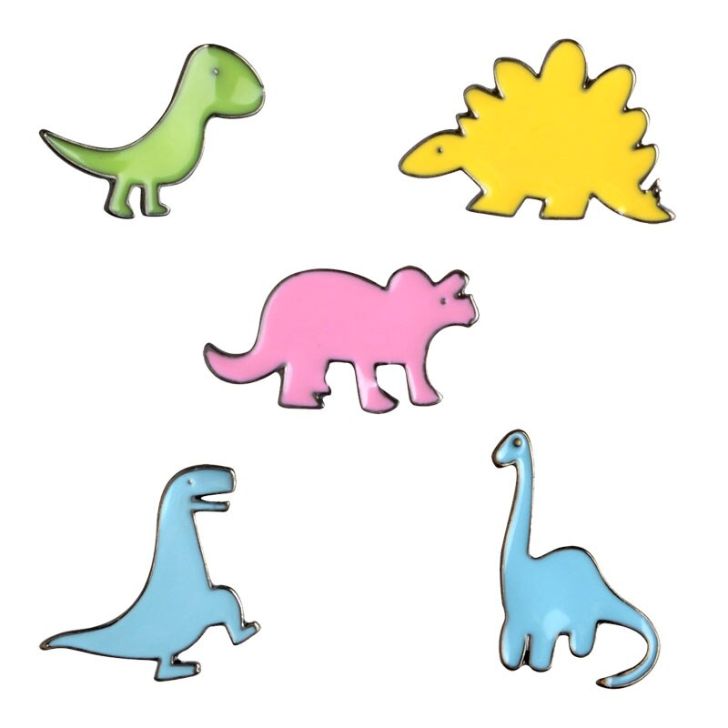 Fashion Cartoon Enamel Brooch Jewelry Cute Small Dinosaur Ancient Animal Tyrannosaurus Allosaurus Water Dragon Brooches Pins