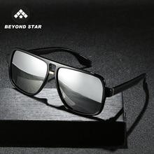BEYONDSTAR 2020 Vintage Men Polarised Silver Mirror Glasses Polarized Square Sunglasses Retro Eyewea