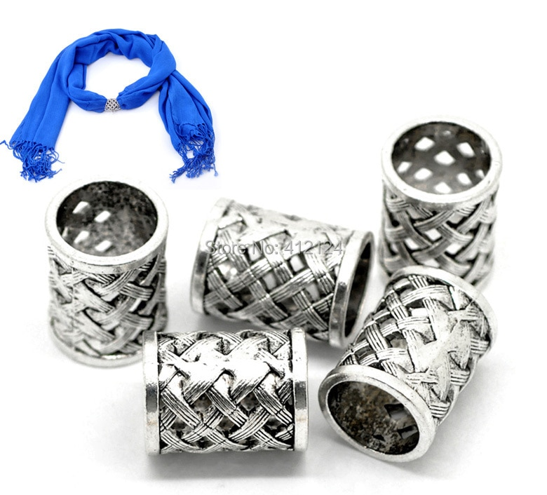 10Pcs Bail Spacer Beads Plait Shape Hollow Round For Wrap Scarf Silver Tone Jewelry DIY Making Findi