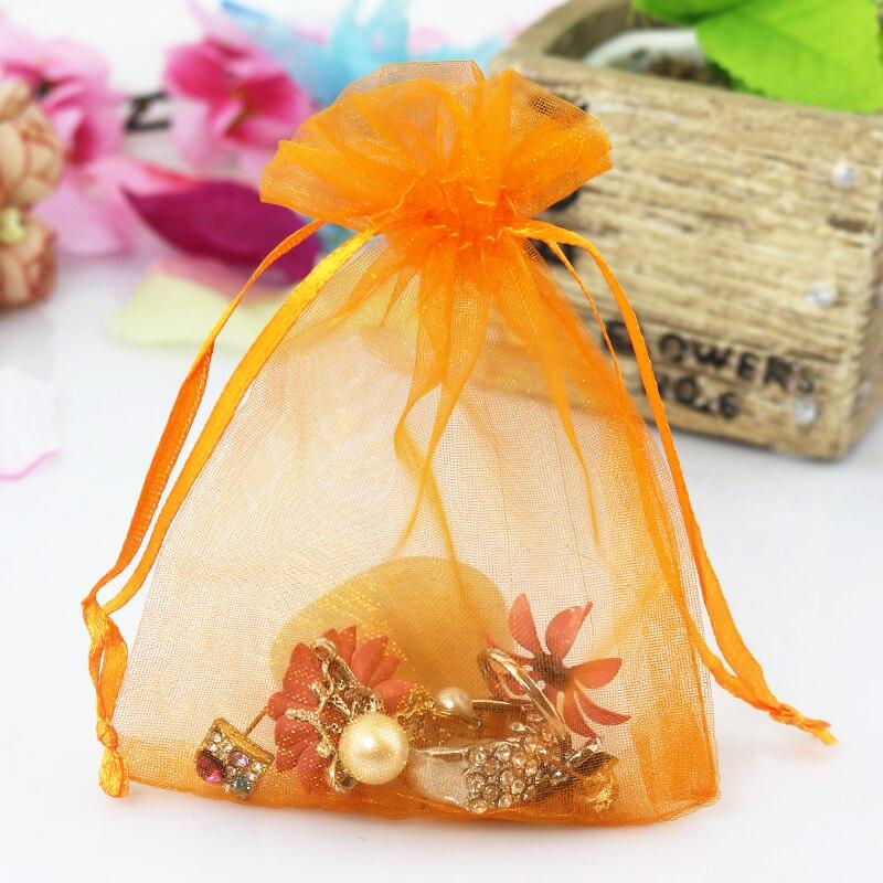 Hotsale 500Pcs/lot Orange Organza Bag 13x18cm Jewelry Boutique Gifts Packaging Bag Pouches Wedding Organza Drawstring Gift Bags