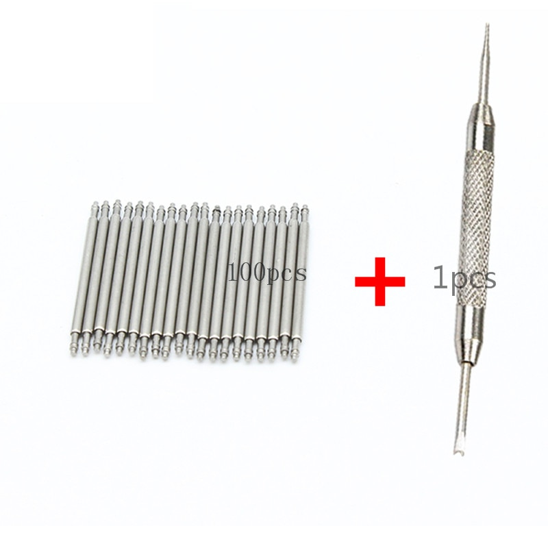 100 stücke + 1 werkzeug Edelstahl Uhr Band Strap Frühling Bar Link-Pins Remover New Silber 12mm 14mm 16mm 18mm 20mm 22mm 24 26 28mm