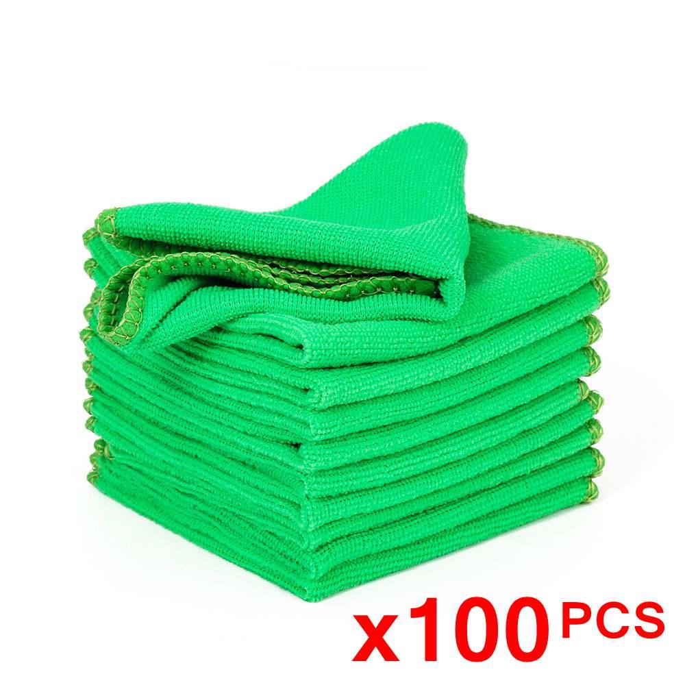 100 peças microfiber toalha de lavagem de carro pano de limpeza de carro enceramento de polimento de secagem detalhando cuidados com o carro cozinha toalha de trabalho doméstico