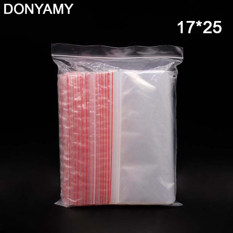 17*25, venta al por mayor, 100 Uds., válvula de tarjeta de teléfono de comida transparente, bolsa hermética con cierre de cremallera, bolsas de embalaje de regalo de plástico para collar