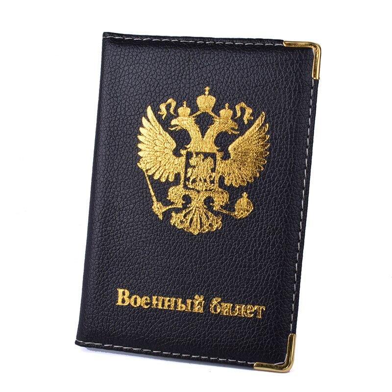 Emblème russe voyage passeport couverture femmes hommes porte-carte de crédit étui en cuir PU voyage daffaires Document passeport portefeuille