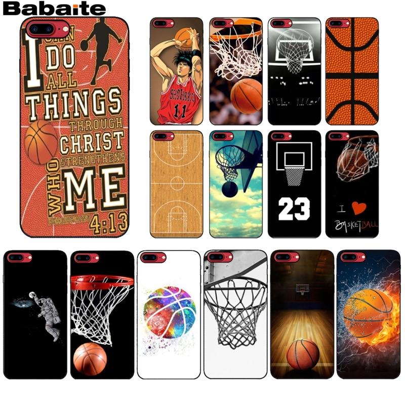 Bonita funda de teléfono con dibujo DIY de I love basketball de Babaite para iPhone X, XS, MAX, 6, 6s, 7, 7plus, 8, 8Plus, 5 5S, SE, XR11, 11pro y promax