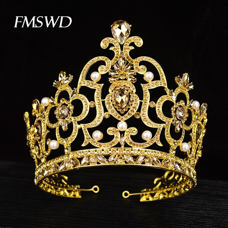 New Vintage Gold Color Luxury Rhinestone Big Tiara Bride Wedding Queen Lager Royal Crown Tiaras Hair Jewelry Hair Accessories
