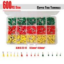 Terminaux de tubes 3 couleurs 22 ~ 12AWG   Livraison gratuite 600 pièces/ensemble de 3 couleurs, cordon de connexion, broche de câble dextrémité, kit de bagues de Bootlace pour câble de 22 ~ 12AWG