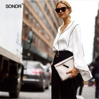 sondr 2019 spring street snap seiko v collar black and white shirt split wide sleeve chiffon blouse loose pajamas style