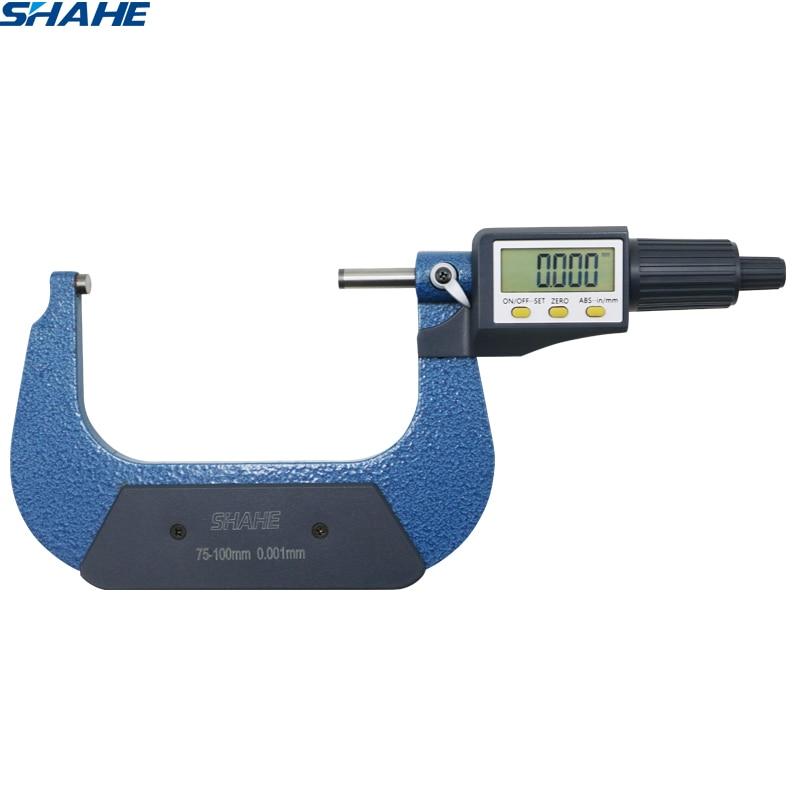 Micrómetro exterior electrónico shahe 75-100mm 0.001mm con caja minorista micrómetro exterior calibre micrométrico
