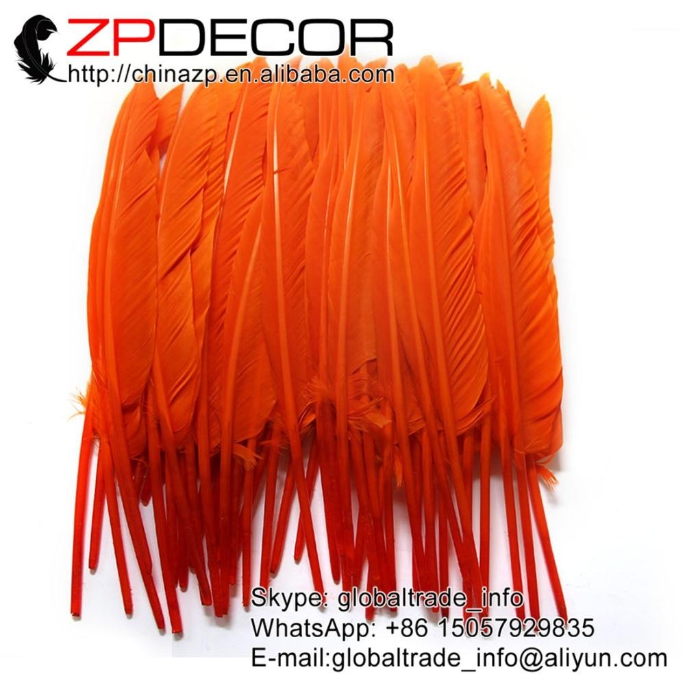 ZPDECOR 50 unids/lote 25-30cm (10-12 pulgadas) mano selecta naranja teñida al por mayor ganso puntero primario pluma para pluma