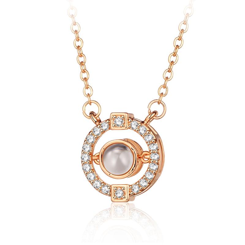 UBEAUTY establecer foto nombre imagen en el Centro cuenta Rosa oro plata colgante redondo collar de circón para pareja amante