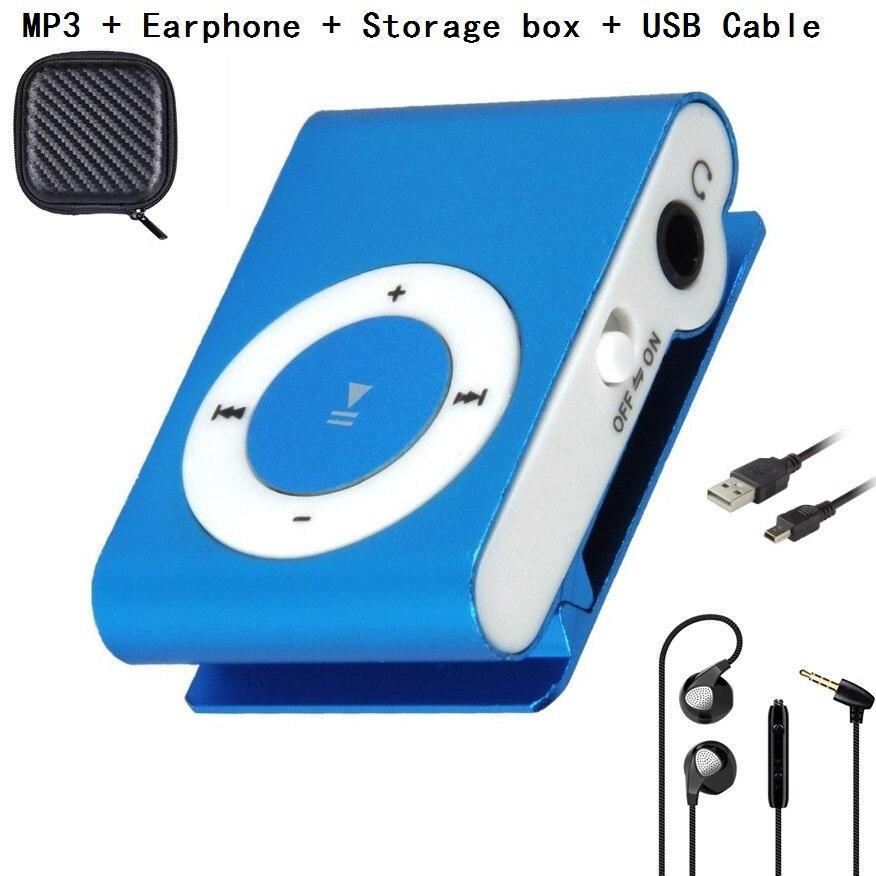 Gdlyl reproductor de música MP3 portátil Mini Clip Multicolor reproductor de MP3 con ranura para tarjeta Micro TF/SD + auricular + caja de almacenamiento + cable USB