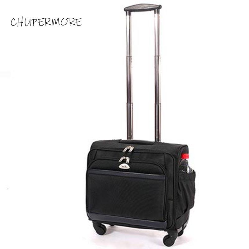 Chupermore conveniente oxford equipaje rodante Spinner 18 pulgadas hombres placa base para negocios un avión maleta de ruedas en bolsas de viaje