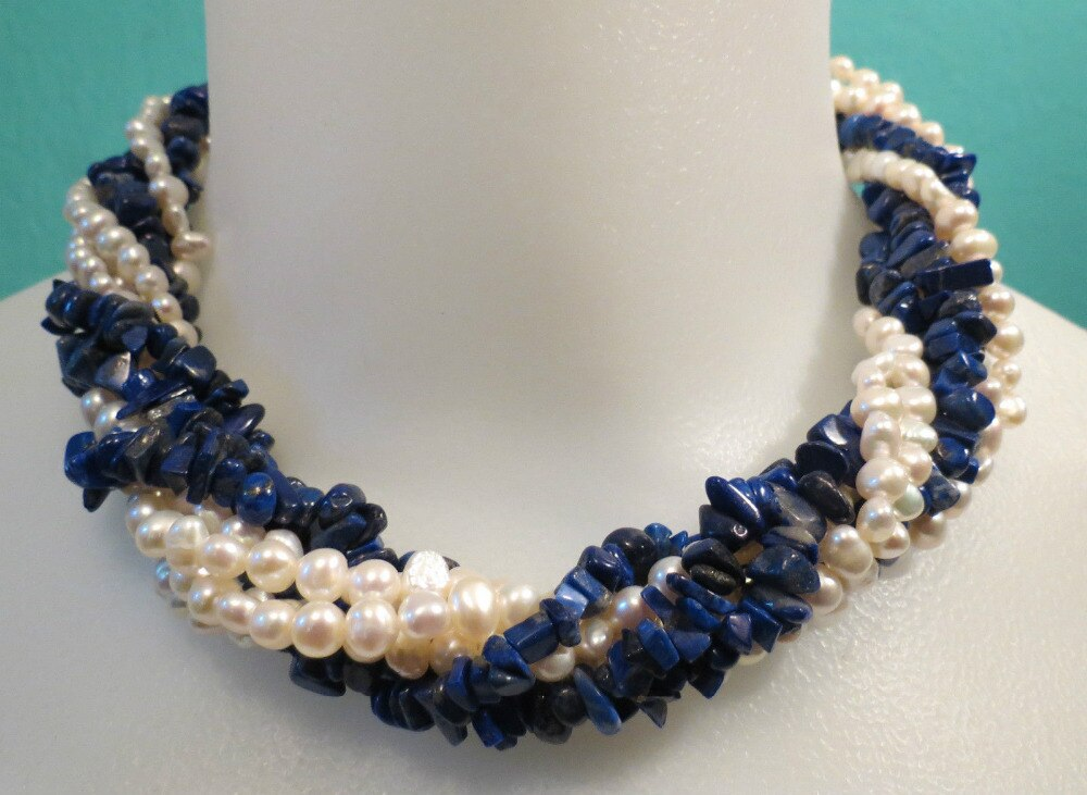 Envío libre multi-strands collar, trenzado Lapis Lazuli blanco y perlas de agua dulce