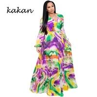 kakan womens print chiffon maxi dress with belt bohemian beach sexy v neck long sleeve dress large size womens s 3xl 5xl